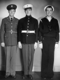 World War Ii Army, Marine and Navy Men in Uniform Photographic Print by George Marks
