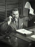 Angry Businessman Inside Office Photographic Print by George Marks