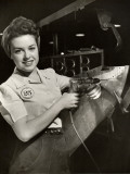 Woman Working on Aircraft Assembly Line Photographic Print by George Marks