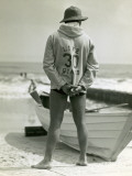 Life Guard on Beach With Rescue Boat Photographic Print by George Marks
