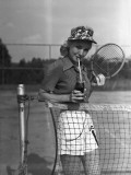 Woman Drinking Cola at Tennis Net Photographic Print by George Marks