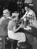 Couple at Counter of Ice Cream Parlor Photographic Print by George Marks
