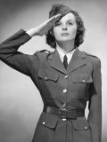 Woman in Military Uniform Saluting Photographic Print by George Marks
