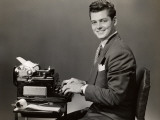 Male Secretary at Typewriter Photographic Print by George Marks