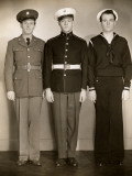 Ww Ii Us Army, Marine and Navy Men in Uniform Photographic Print by George Marks