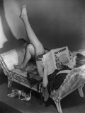 Woman Reading Magazine Photographic Print by George Marks