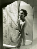 Smiling Woman Behind Shower Curtain Photographic Print by George Marks