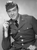 Army Soldier Smoking Cigarette Photographic Print by George Marks
