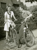Girl and Boy on Bikes Photographic Print by George Marks
