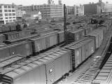 Freight Trains on Railroad Station Photographic Print by George Marks
