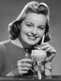 Woman With Ice-Cream Drink Photographic Print by George Marks