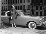 Woman Standing Next To Studebaker Photographic Print by George Marks