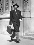 Businessman Walking on Sidewalk Photographic Print by George Marks