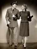 Woman With U S Army Officer Photographic Print by George Marks