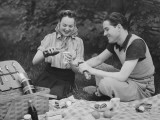 Young Couple on Picnic (B&W) Photographic Print by George Marks