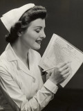 Nurse W Patient's Medical Chart Photographic Print by George Marks