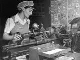 Woman Machinist at Work Photographic Print by George Marks
