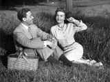 Romantic Couple Picnicking Photographic Print by George Marks