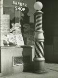 Striped Barber Pole Outside Shop Reproduction photographique par George Marks