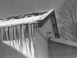 Icicles on Barn Roof Photographic Print by George Marks