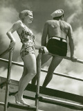 Couple on Diving Platform Photographic Print by George Marks