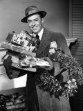 Man With Christmas Gifts Photographic Print by George Marks
