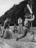 Troops Play Cricket Photographic Print