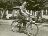 Teenage Boy on Bicycle Photographic Print by George Marks