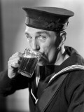 Sailor Drinking Beer Photographic Print