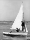Couple on Small Sail Boat Photographic Print by George Marks