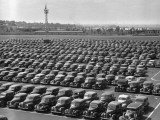 Parking Lot at Car Factory Photographic Print by George Marks