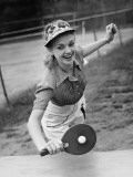 Woman Playing Table Tennis Photographic Print by George Marks