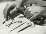 Man Arranging Surgical Tools, Close Up of Hands Photographic Print