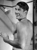 Man Enjoying Shower Photographic Print by George Marks