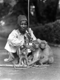 Young Man Wearing Fez, With Three Trained Monkeys Photographic Print by Charles Phelps Cushing