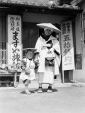 Buddhist Pilgrim Mother and Child Wearing Traditional Costume, Begging For Donations, Kobe Photographic Print by Charles Phelps Cushing