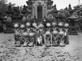 Group of Sixteen Female Dancers Posing in Two Rows in Front of Balinese Temple, Indonesia Photographic Print by Charles Phelps Cushing