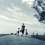 Mother and Her Young Son and Daughter Walking in Park Photographic Print