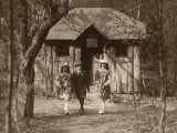 Students Outside Schoolhouse Photographic Print