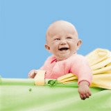 Smiling Baby in a Baby Carriage Photographic Print