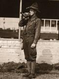 Man in Uniform Playing Bugle Photographic Print