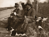 Two Hunters With Dogs Sharing Cigars Photographic Print