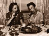 Teenage Girl and Boy (15-17) Eating Turkey Dinner Photographic Print