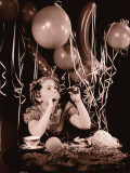 Girl (8-10) Blowing Party Horn Photographic Print