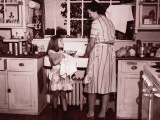 Mother and Daughter (8-10) Washing and Wiping Dishes Photographic Print