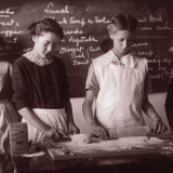 Two School Girls Baking in Home Economics Class Photographic Print
