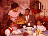 Family Preparing To Eat Christmas Dinner Photographic Print