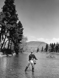 Man Fly-Fishing in Stream Photographic Print