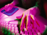 Woman Using Computer Keyboard and Mouse, Close-Up Photographic Print