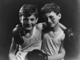 Two Boys With Black Eyes Wearing Boxing Gloves Photographic Print